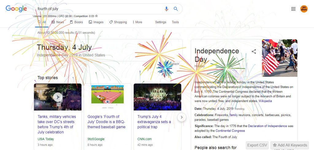 Easter egg search Google offers an explosion for the fourth of July
