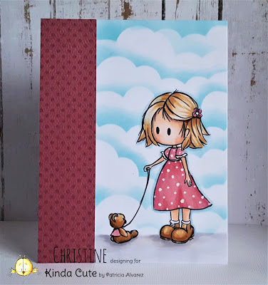 Card made by Christine using girl and balloon digital stamp