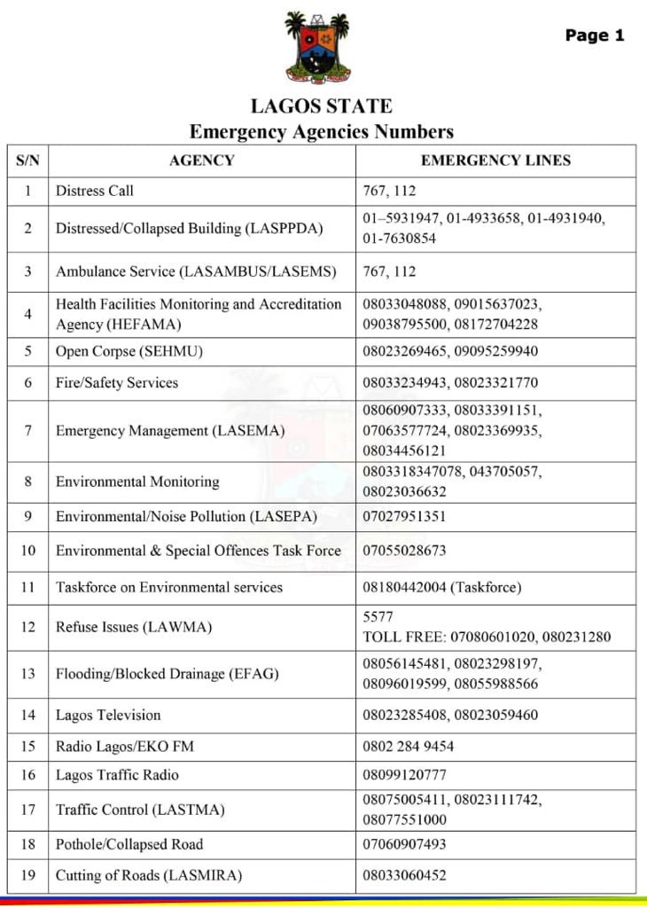 Lagos State Government Releases Updated Lists Of Emergency Numbers 2