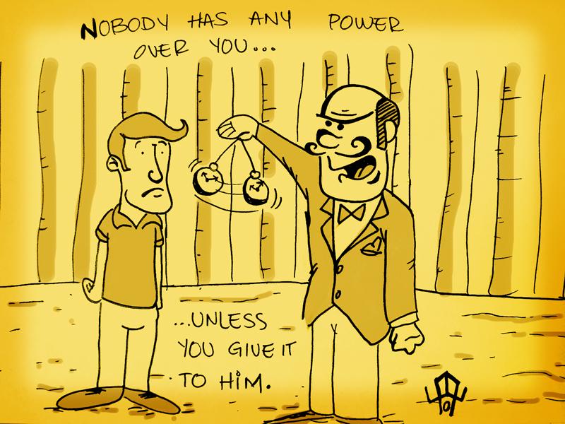 Homme qui agite un pendule sous le nez d'un autre homme