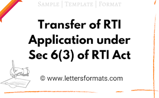 Transfer of RTI Application under Section 6(3) of RTI Act, 2005