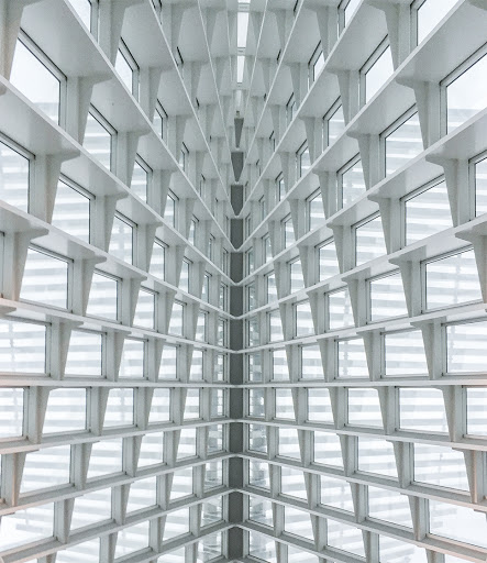 Looking up in the Quadracci Pavilion at the Milwaukee Art Museum