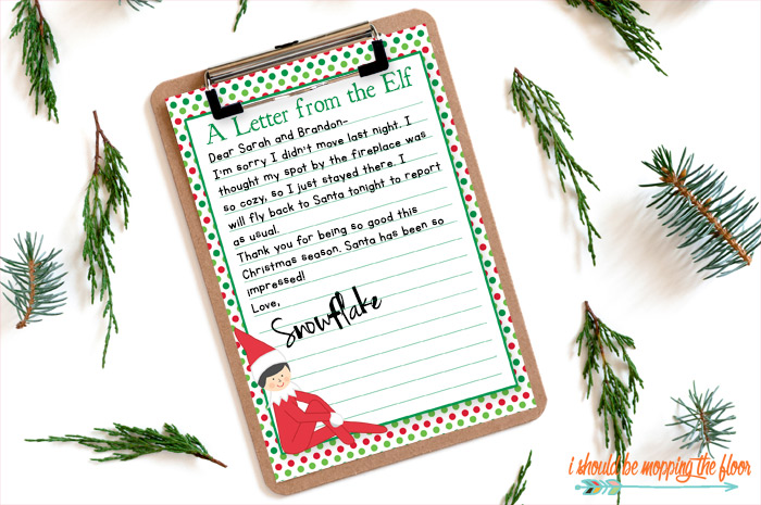Elf on the Shelf Letterhead