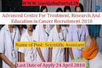 Advanced Centre For Treatment, Research And Education in Cancer Recruitment 2018– Scientific Assistant