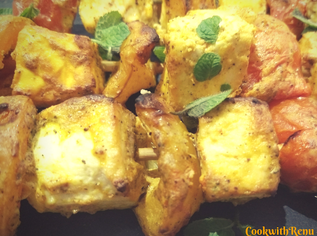 Paneer Tikka (Indian Style Grilled Cottage Cheese & Vegetables)