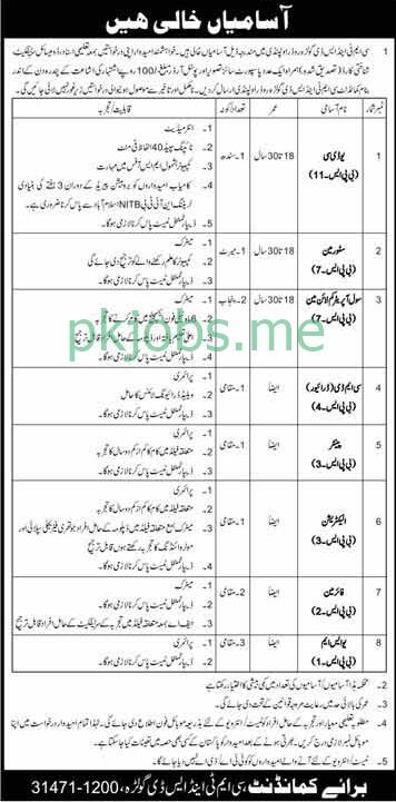 Latest Pakistan Army CMT & SD Posts 2021