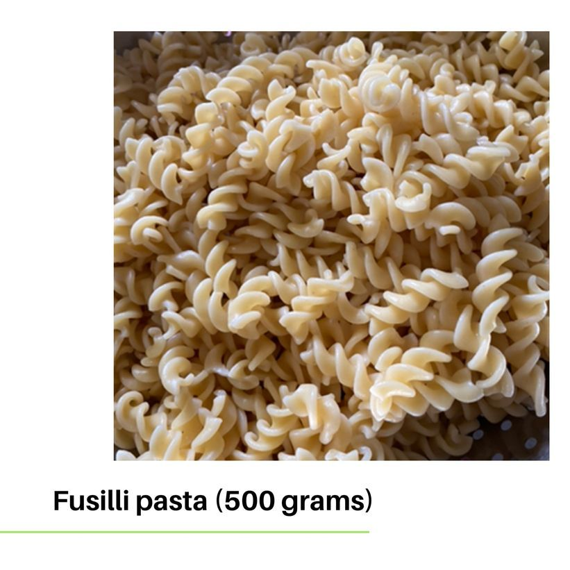 Cooked fusilli pasta for my salmon and sausage and tomato sauce recipe
