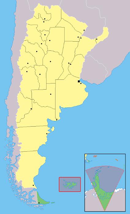 Mapa localização província Tierra del Fuego - Argentina
