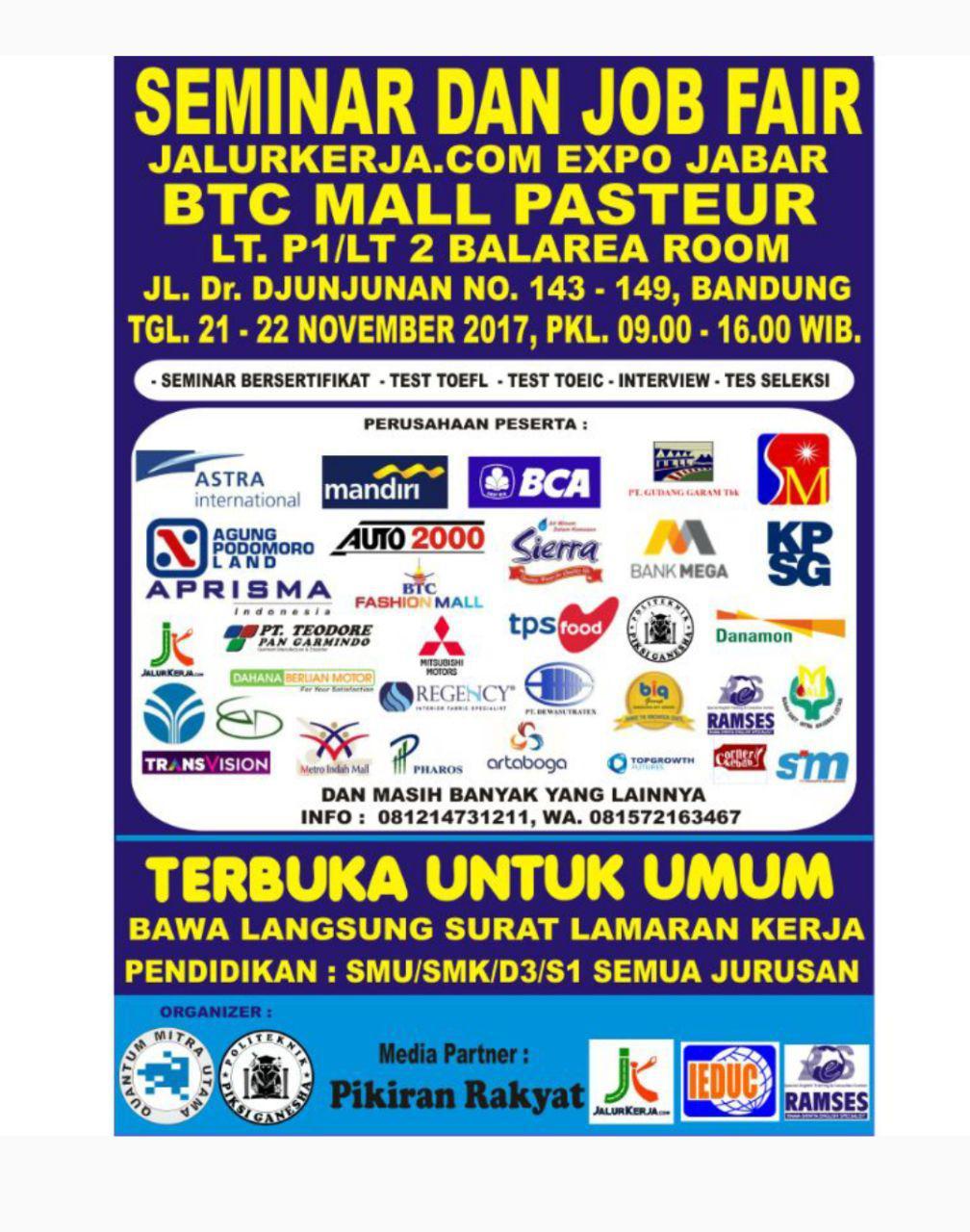 Seminar dan Job Fair BTC Mall Pasteur Bandung width=