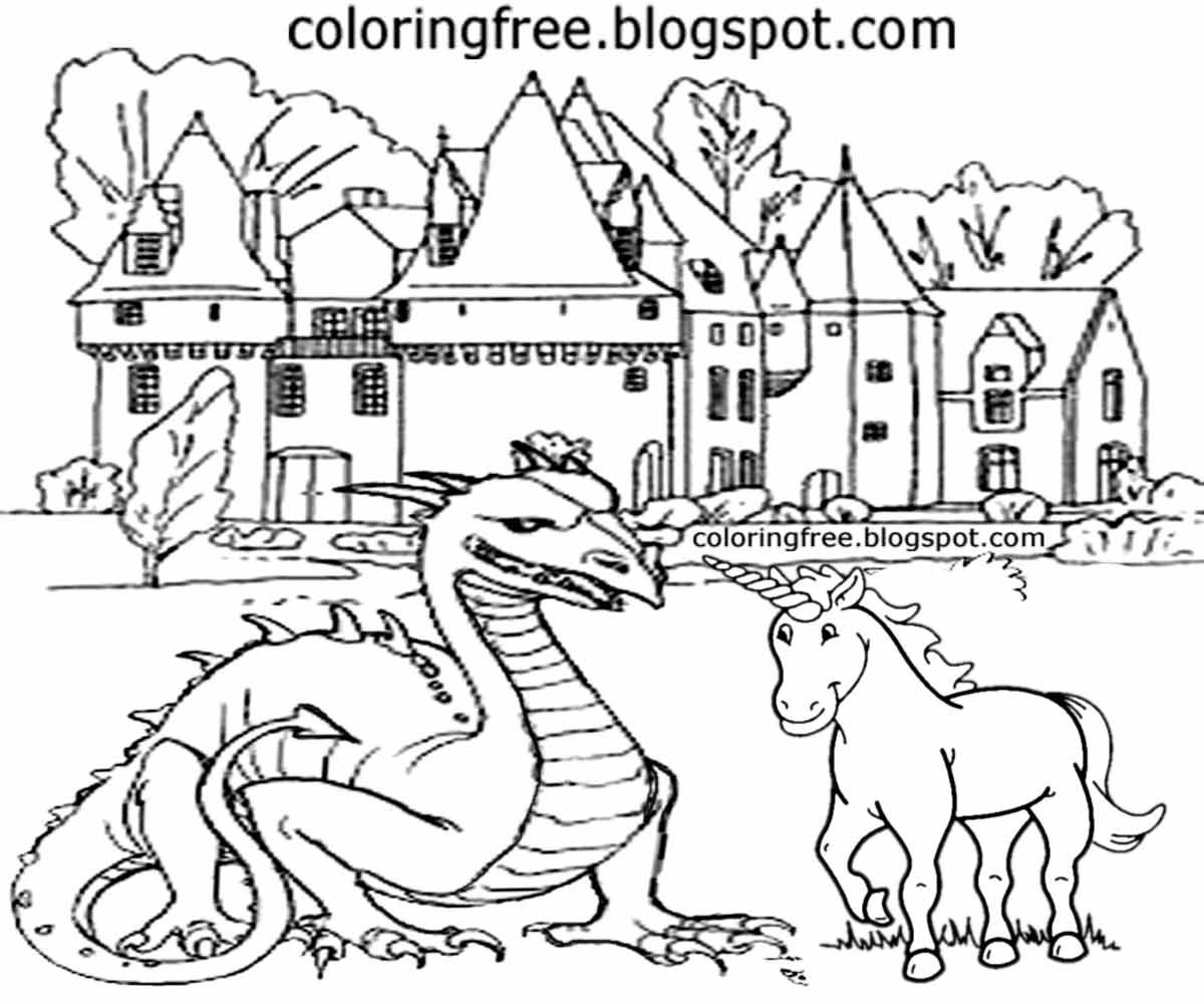 Big Old French Castle Dragon Monster Unicorn Sketch Mythical Coloring In Pictures Older Kids Artwork