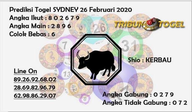 Prediksi Togel JP Sidney 26 Februari 2020 - Prediksi Tribun Togel