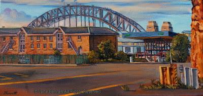 Plein air oil painting of Moore's Wharf, Walsh Bay Wharves & Sydney Harbour Bridge from East Darling Harbour Wharves painted by industrial heritage artist Jane Bennett