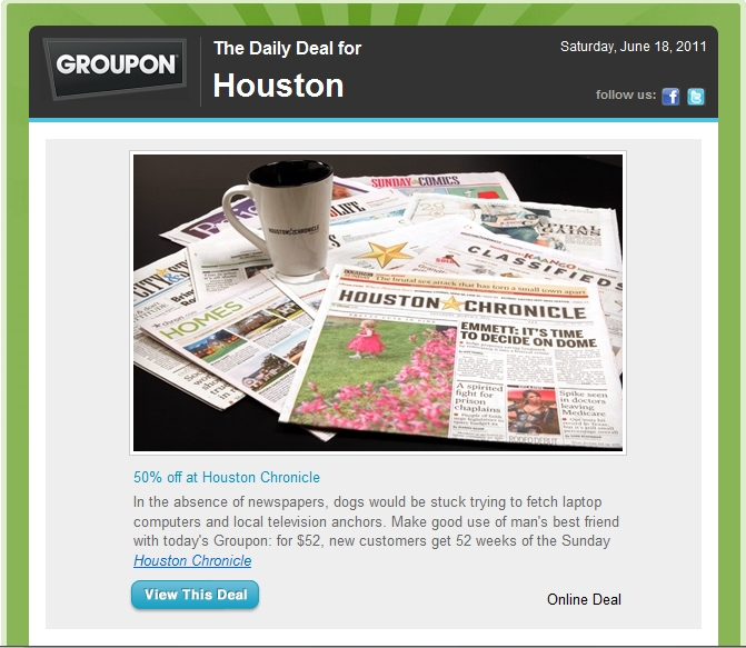 About Houston Chronicle. The Houston Chronicle is the primary newspaper of the fourth largest city in the U.S., and it takes its job seriously. A Houston Chronicle subscription brings you news, entertainment, opinion, real estate, business, and sports that are relevant for the Houston, Texas, region and anyone who wants to know what's happening there.