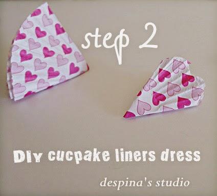 DIY cucpake liners dress step 2
