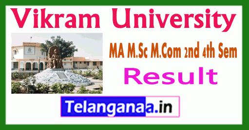 Vikram University MA/ MSc/ MCom 2nd 4th Sem Result