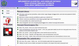 Script PHP Mysql, Metode algoritma jaro winkler distanse, Script Ujian Online Berbasis Web.