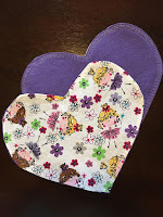 Heart Cloth Napkins in plain purple and patterned purple by Cerena Levene on Etsy