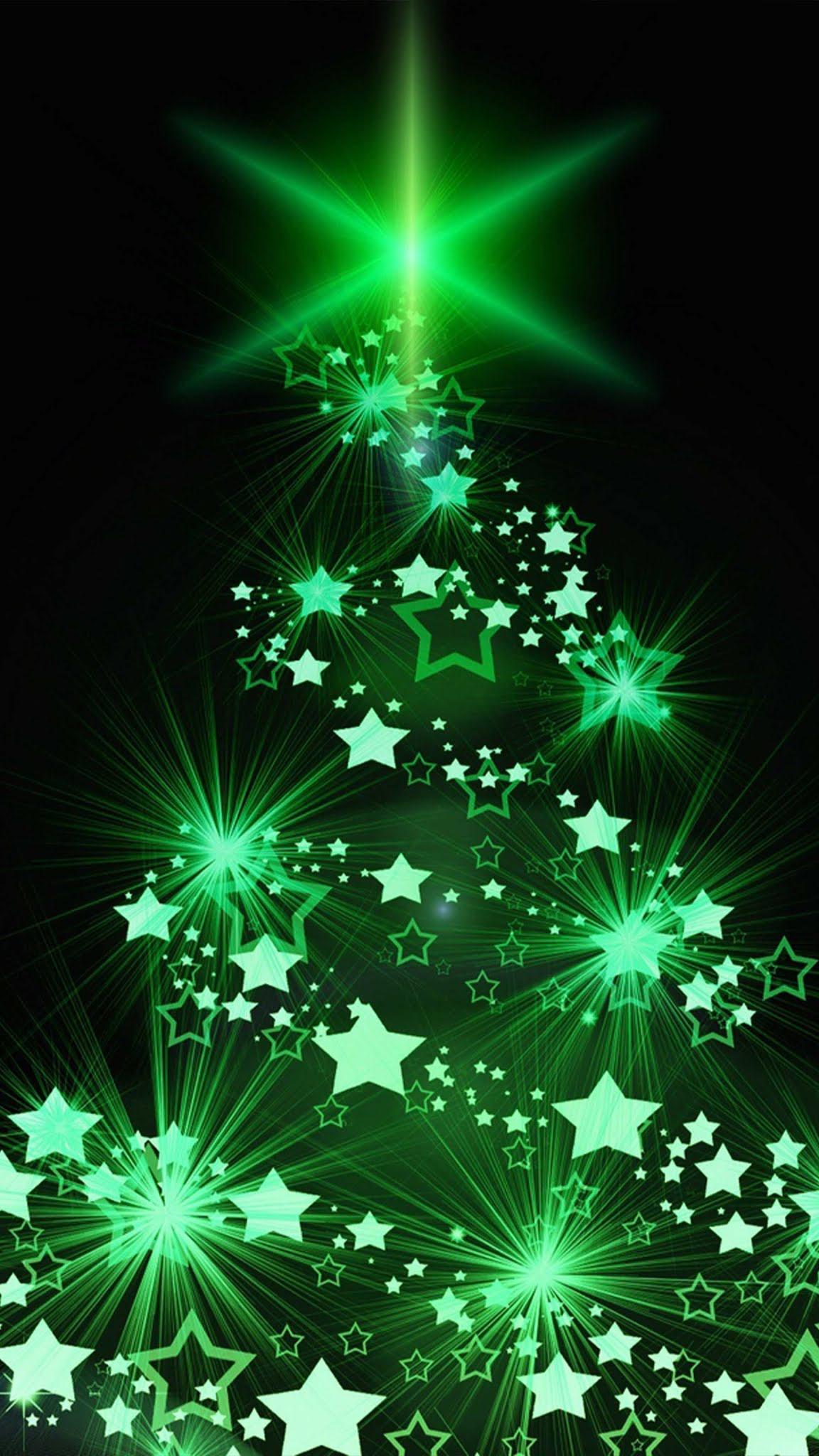 Christmas Tree Green Lights Mobile Wallpaper