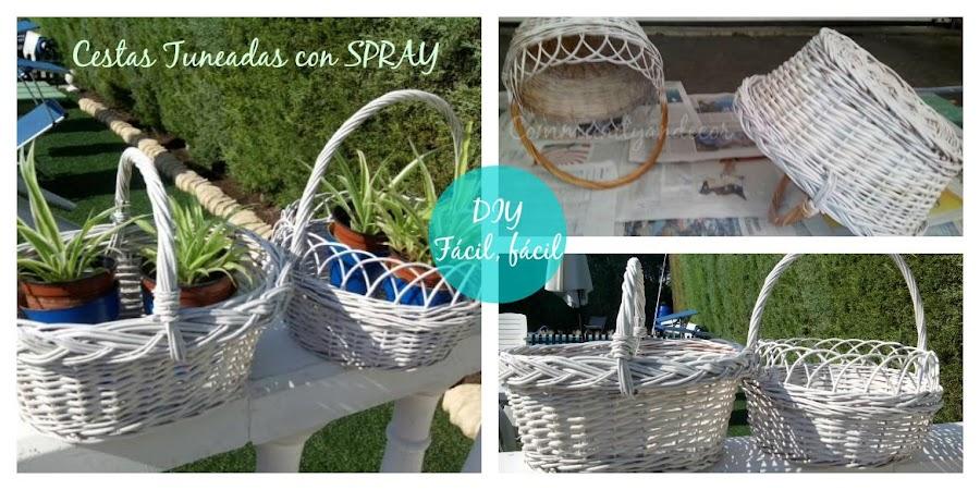 Reciclar cestas de mimbre como maceteros
