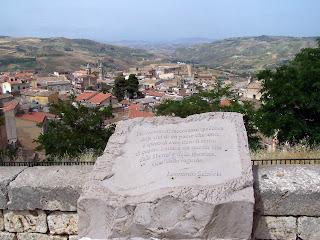 Leonardo Sciascia's dedication to Racalmuto on a stone overlooking the town, to which he was deeply attached