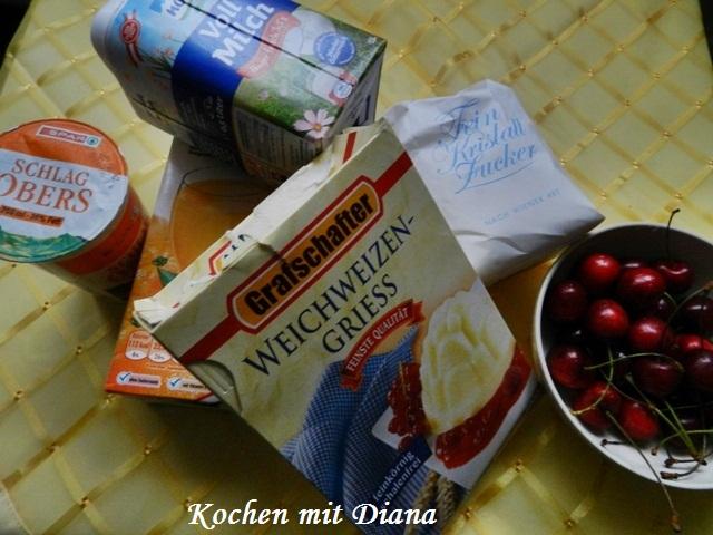 Zutaten Grieß-Pudding mit Kirschen