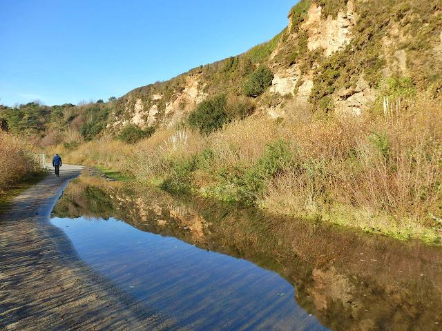Reflections in puddle at Carlyon Bay, Cornwall