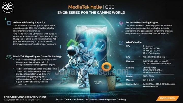 HP dengan Prosesor Mediatek Helio G80