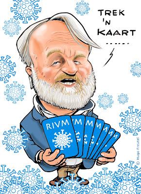 Jaap van Dissel 's met COVID-19 speelkaarten in zijn hand, met COVID19 virus bollen om hem heen en vraagt: trek een kaart.