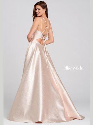 Ellie Wilde A-line Rose Quratz color Prom dress back side