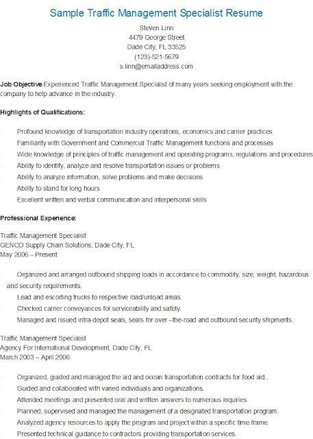 resume sles sle traffic management specialist resume