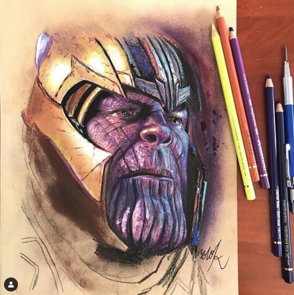 Dibujo de Thanos de Marvel con  lápices de colores Faber Castell