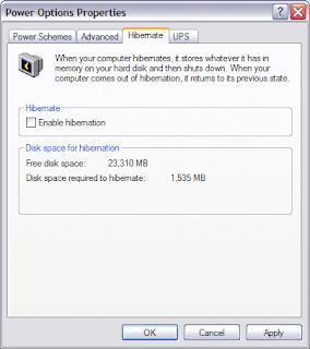Tắt chế độ Hibernate trên Windows XP