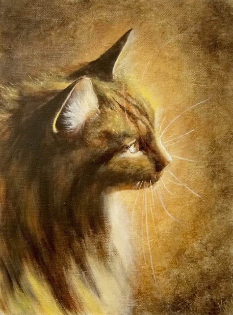 Oil painting of a cat in golden light. Pet portrait, cat painting