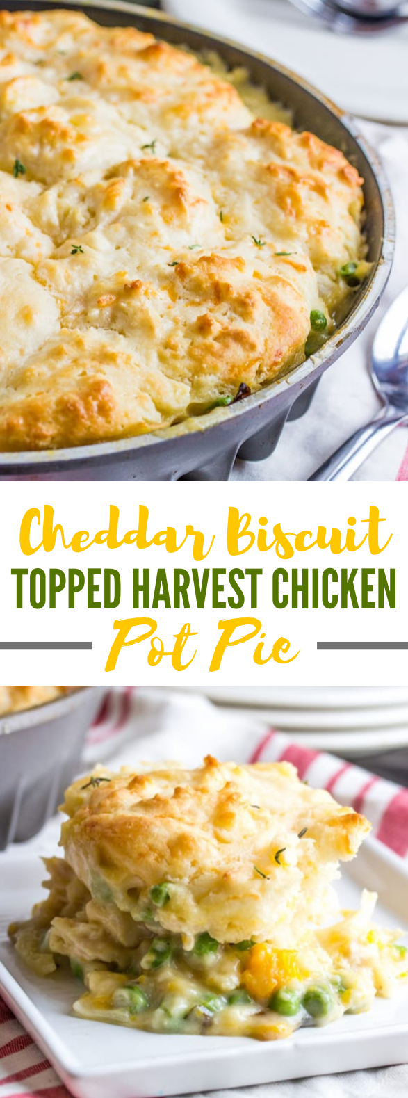 CHEDDAR BISCUIT TOPPED HARVEST CHICKEN POT PIE #dinner #veggies