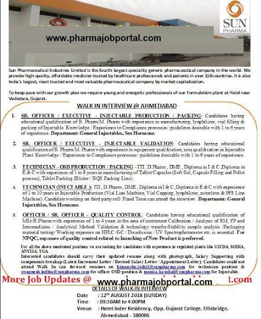 SUN PHARMA LTD  Walk-In Interviews for Multiple Positions on 12 August