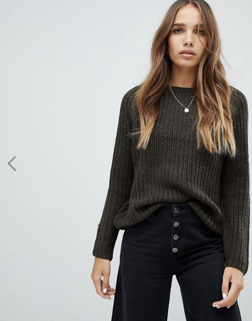 Only cable knit sweater with shoulder detail