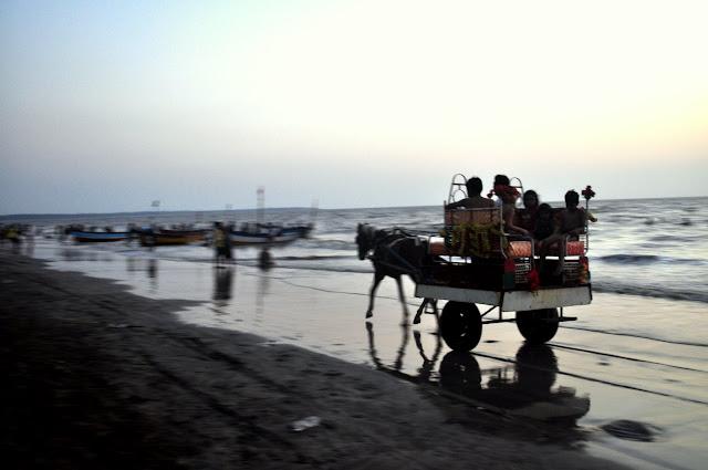 Daman Jhampore beach sea Gujarat Travel Tourism Guide India horses on the beach sand