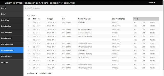 Source Code Penggajian dan Absensi dengan PHP 7 dan MySqli