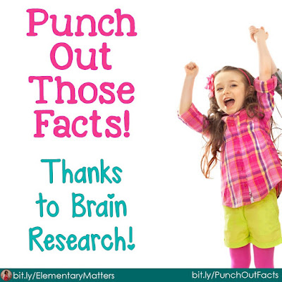 Punch out those facts! This blog post has several suggestions (research based) to help children learn facts, such as math facts.