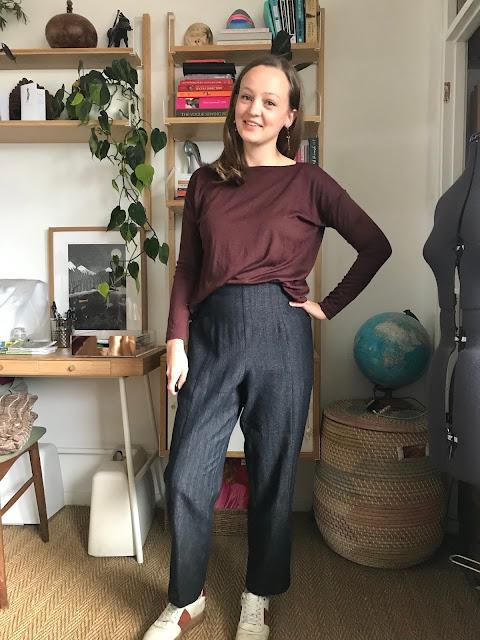 Diary of a Chain Stitcher: Merino Jersey Tessuti Mandy Boat Tee and Wool Herringbone Closet Case Patterns Pietra Pants The Fabric Store