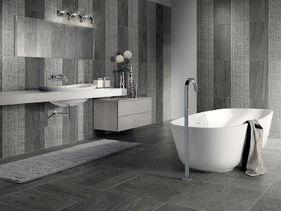 Bathroom wall floor tiles with White bathtub