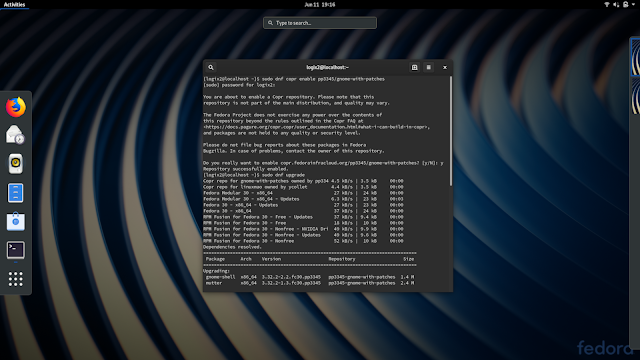 Fedora Gnome with patches Copr