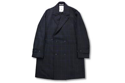 BLACK&BLUE [ ダブルブレステッドコート ] ブラック×ブルーチェック