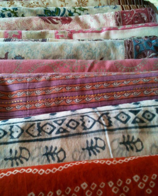 The famous, hand-printed Kalamata silk scarves