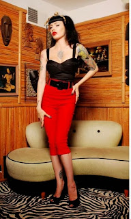 Pinup Girl Clothing Deadly Dames Capri Pants in Red