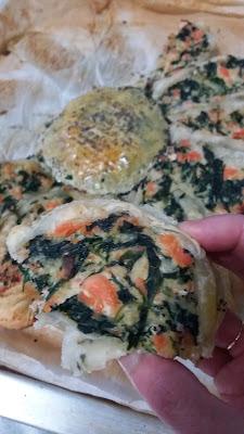 Tarte soleil au saumon frais,épinards et fromage ; Tarte soleil au saumon frais,épinards et fromage