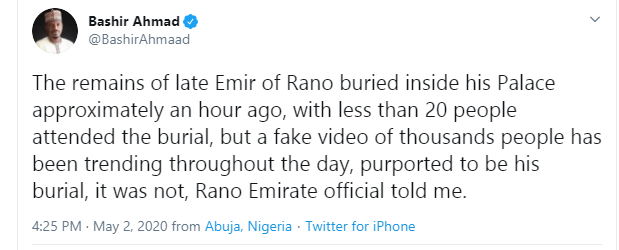 emir of kano video burial