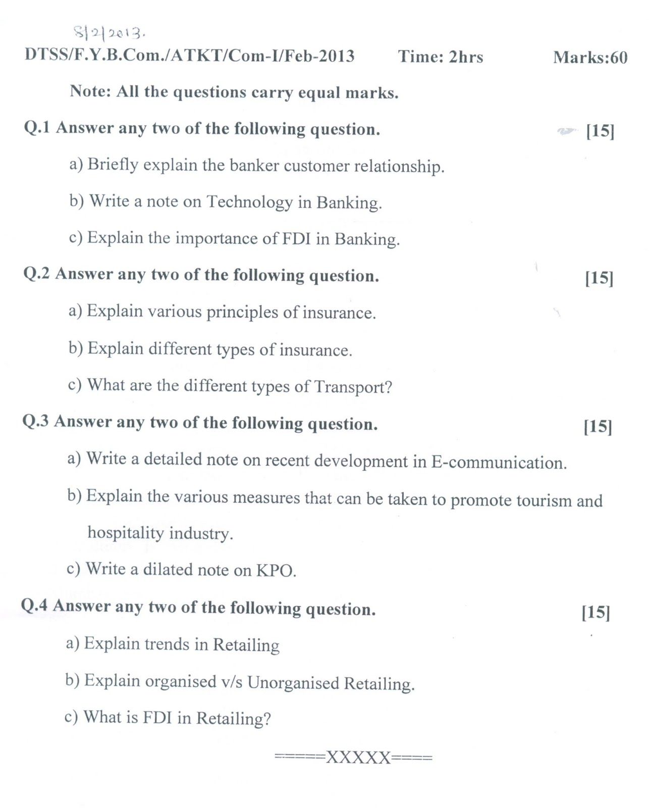 Question Papers Collection: ATKT FYBCOM (COM I)