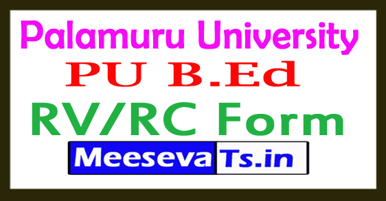 Palamuru University (PU) B.Ed 1st Sem RV/RC Form 2018