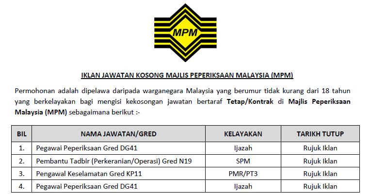 Jawatan Kosong Di Majlis Peperiksaan Malaysia Mpm